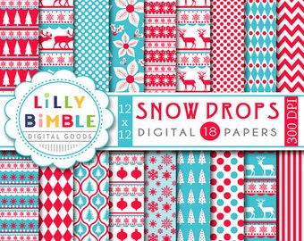 60% off Christmas digital scrapbook papers SNOW DROPS scandinavian, red and turquoise, Instant Download