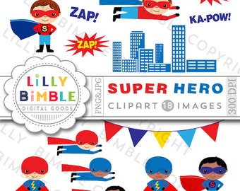 40% off Superhero clipart birthday party clip art flying superheroes red and blue INSTANT Download