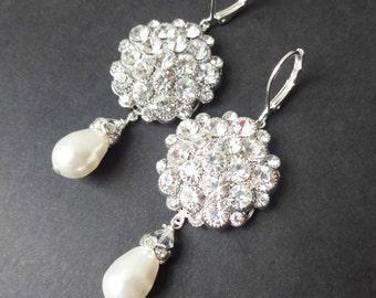 Crystal Cluster and Pearl Wedding Bridal Earrings, Vintage Style Wedding Earrings, Pearl Dangle Earrings, Old Hollywood Jewelry, ELIZABETH