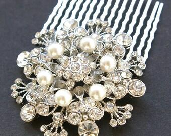 Vintage Style Wedding Hair Comb, Art Deco Style Swarovski Crystal Rhinestone & Pearl Bridal Hair Comb, Wedding Hair Accessories, BOUQUET