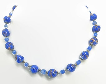 Venetian Murano necklace. Sommerso. Vintage Adventurine Italy. Blue