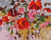 Giclee Print of Acrylic Abstract Floral Painting Modern Art Made To Order Bold Red Flowers Large Fine Art Print Wall Decor by Linda Monfort