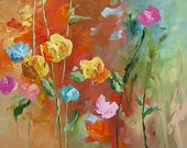 Abstract Floral Acrylic Painting Giclee Print Made To Order Yellow Blue Pink Roses Impressionist Fine Art Print Wall Decor by Linda Monfort