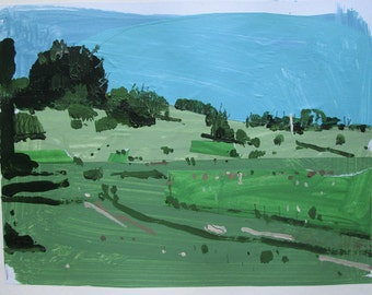 Lost Dog Hill, July 3, Original Landscape Collage Painting on Paper, Stooshinoff