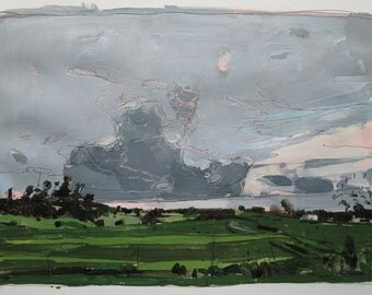 Evening Pass, Original July Landscape Painting on Paper, Stooshinoff