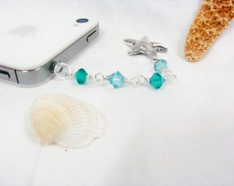 Cell phone charm - Stocking Stuffer for women- Anti-dust plug with aquamarine Swarovski crystals and starfish charm
