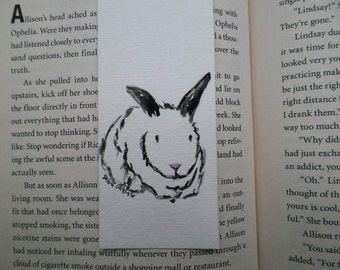Bunny Ball Watercolor ACEO Bookmark Art Original Painting by Artist Debra Alouise