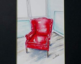 Red Chair Watercolor Art Original Painting by California Artist Debra Alouise Home Decor Nursery Room Library Art