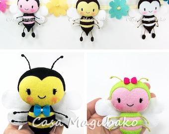 PDF Pattern - Bee Felt Pattern - Felt Bee Ornament or Soft Toy - Bee Softie Pattern - Sewing Pattern - Stuffed Bee - Instant Download