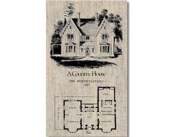 Vintage Country House Plan fridge Magnet kitchen refrigerator magnet on linen kitchen decor cheap gift