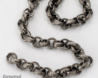 5mm Gunmetal Textured Rolo Chain #CCC246