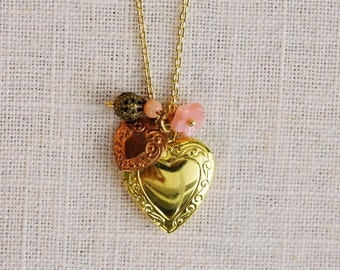 CLEARANCE . copper & blush . gold heart locket charm necklace (bits and pieces sale)