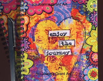ENJOY THE JOURNEY Mixed Media Art Journal Notebook