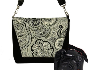 Deluxe DSLR Camera Bag Case zipper pocket more padding - Vintage Paisley Onyx MTO