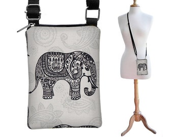 Elephant Shoulder  Bag Cell Sling iPhone 6 Case Women's Crossbody Purse Woman's Sling cute elephant purse gray paisley RTS