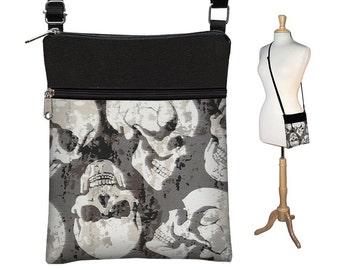 Steampunk Sling Bag Shoulder Purse Goth Skulls Crossbody Bag Small Travel Purse Zipper Fits eReaders Black White Gray RTS