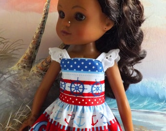 "14 to 14.5"" Doll Clothes Dress Nautical Medley Red White and Blue"