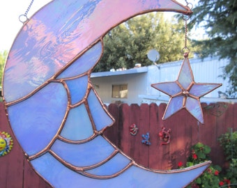 Man in Moon & Star Suncatcher of Iridescent Opaque Light Blue Stained Glass