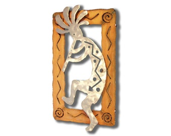 Metal Kokopelli Wall Art - Steel Flute Kokopelli Sculpture with Rusted Southwest Frame - Silver Finish - Left Facing -12 Inches