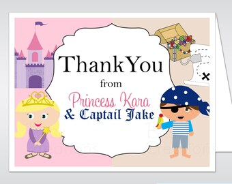 Princess and Pirate Party Printable Thank You Card Made to Match Birthday Party Thank You