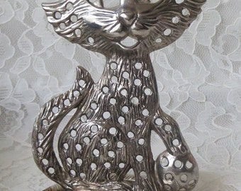 Vintage 1970's Silverplate Kitty Cat Earring Jewelry Holder Organizer