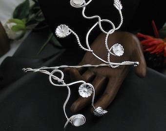Upper Arm Bracelet Wrap, Arm Cuff, Arm Torque, Arm Torc, Vine Arm Wrap, Gemstones, Handmade, OOAK - Sterling Silver
