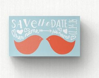 Save the Date Cards  Wedding Invitation  Wedding Card  Modern Wedding  Love Birds Save the Date  SD3