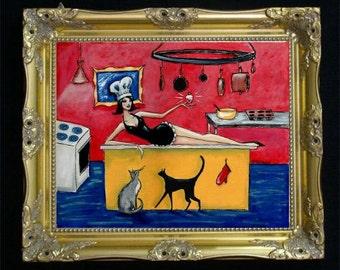 Kitchen Goddess Art Print, Wall Decor, Woman and Cats, Colorful Art, Kitchen Wall Hanging, Kitchen Decor, Siamese Cat Illustration, SHANO