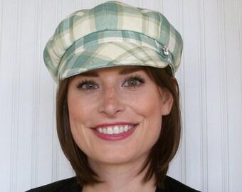 Plaid Newsboy Hat - Newsboy Cap - Womens Hats - Ivory, Aqua and Olive - Summer Hat - S