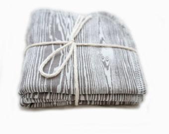 Baby Washcloths Grey Wood Grain Silver Birch Gray Cotton Terry Cloth Bath Time Baby Shower Gift Faux Bois