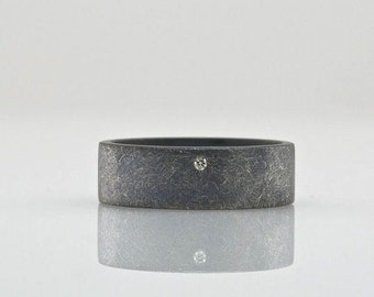 Oxidized Diamond Ring - Wide Band with Rough Finish - Sterling Silver - Modern Jewelry - Great Simple Wedding Band for Men or Women