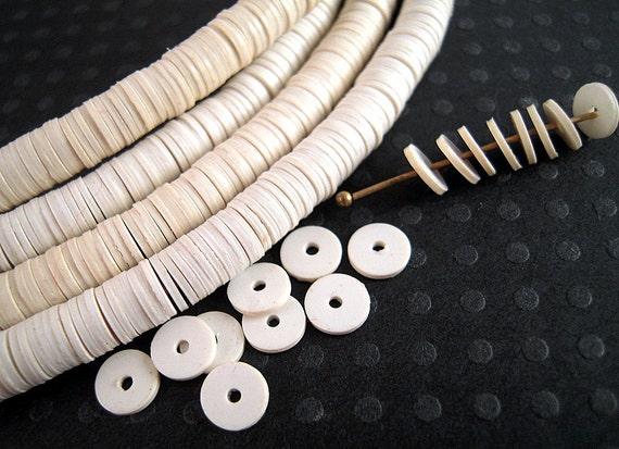 Reduced Price Wholesale White Vinyl Heishi Beads 6mm Full