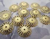 30 pcs. gold tone filigree flower bead caps 14mm - f4708