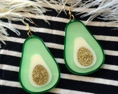 Avocado Earrings, Laser Cut Acrylic, Plastic Jewelry