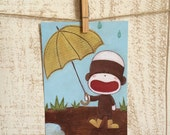 Postcard (Enjoying A Rainy Day), Sock monkey art, Sock monkey nursery, Happy art,