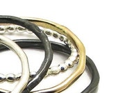 Dark Stack Rings - Gold Filled Silver Bands - Set of Five Narrow Stacking Rings Handmade by Queens Metal