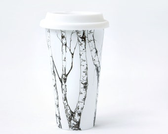 Eco-Friendly Ceramic Travel Mug - Birch Trees, Drawing Collection