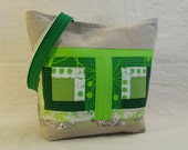 Green Quilted Log Cabin Patchwork & Linen Tote Bag