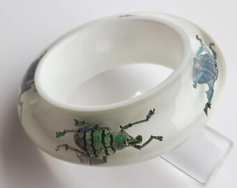 White lucite bracelet with real exotic bugs