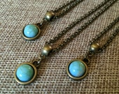 Tiny Turquoise Bezel Necklaces - Turquoise Pendants with Bronze Bezel Settings and Rolo Chains - Minimalist Jewelry - Layering Necklace