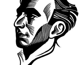 Russian Poet OSIP MANDELSTAM linocut portrait