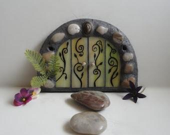 Fairy Door, Stained Glass Mosaic Sculpture, Home Decor, Outdoor Garden Art, Hand Painted, Fairy Portal, Woodland Sculpture, Fae House