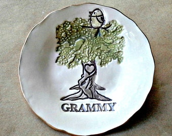 GRAMMY 1 Birdy Ceramic  Trinket Bowl edged in gold  Mothers day