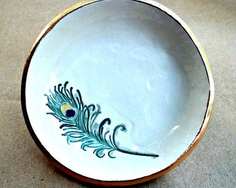 Ceramic  Ring Holder bowl OFF WHITE Peacock Feather