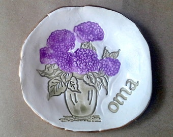 Ceramic Trinket Bowl Jewelry Holder Ring Dish  hydrangea edged in gold OMA