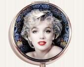 Marilyn Monroe Pill Organizer Box Blue Floral