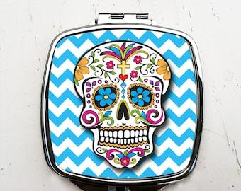 Blue Chevron Sugar Skull Pocket Mirror Day of the Dead Compact Mirror