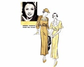 1930s Draped Collar Dress Barbara Stanwyck Hollywood 886 Vintage Sewing Pattern Size 18 Bust 36 FACTORY FOLDED