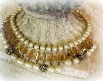 sensacion one of a kind vintage assemblage necklace bib necklace vintage pearls and rhinestone bead balls topaz crystals