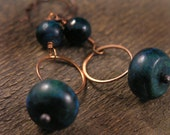 Australian jasper, Russian amazonite stones, teal green turquoise copper ring handmade earrings